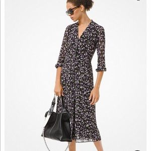 Michael Kors Orchid Floral Georgette Shirtdress